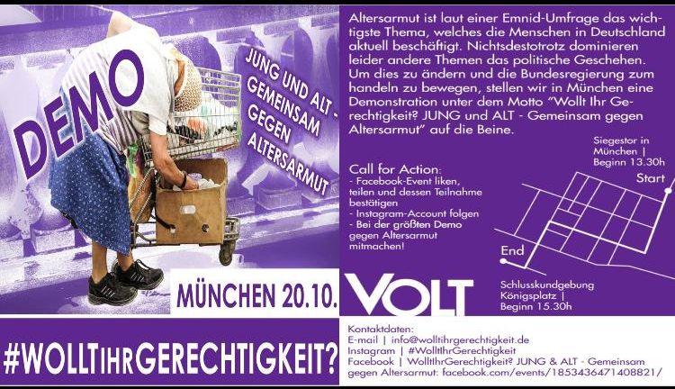 Demo gegen Altersarmut am 20. Oktober 2018, München